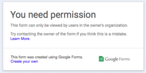 Google Forms permissions error
